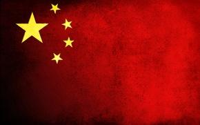 Картинка флаг, красный, Китай, грязь, China, звезды