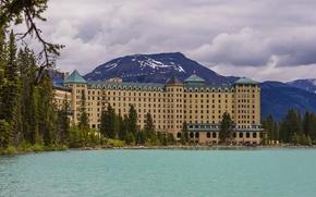 Обои Банф, парк, горы, Alberta, город, отель, озеро, дом, фото, Канада