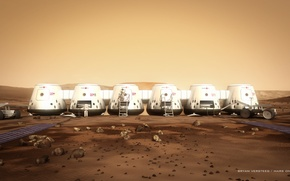 Картинка камни, Марс, астронавты, модули, грунт, марсоход, Mars One