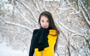 Картинка зима, девушка, уют, пончо, холода
