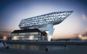 Картинка дизайн, город, здание, порт, архитектура, sunset, Belgium, exterior, port house in Antwerp