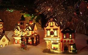 Обои декорация, гирлянда, домики, снег, снежок, огни, под ёлкой, Игрушки