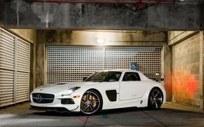 Картинка Mercedes, AMG, Black, SLS, White, Series