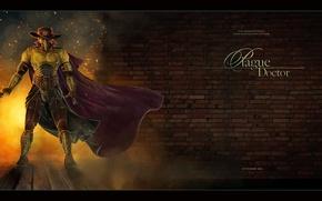 Картинка огонь, сталь, кирпич, искры, доктор, железо, чума, чумной доктор, plague doctor, plague