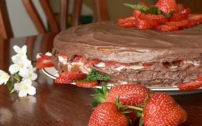 Обои торт, еда, клубника