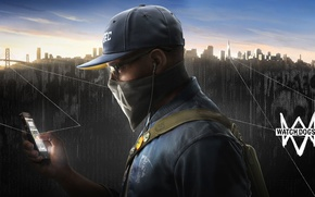 Картинка город, очки, кепка, пушка, мобильник, хак, Watch Dogs2
