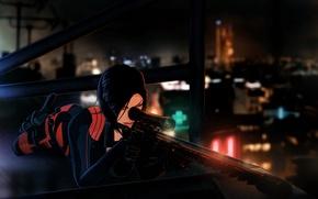 Обои крыша, ночь, оружие, женщина, париж, снайпер, sniper rifle, Fear Effect, Hana Tsu-Vachel