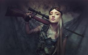 Картинка взгляд, девушка, винтовка