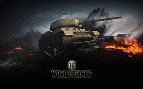 Картинка пламя, война, дым, танк, World of tanks, WoT, средний танк, мир танков, т-34-85