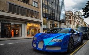 Картинка синий, Bugatti, Veyron, бугатти, хром, Blue, вейрон, гиперкар, Chrome