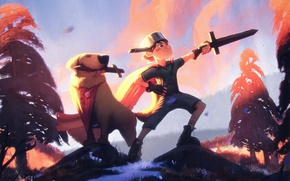 Картинка лес, собака, меч, мальчик, арт, пес, кастрюля, приключения, Adventure Time