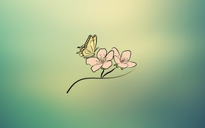 Картинка цветок, бабочка, иллюстрация