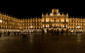 Картинка ночь, city, город, lights, огни, Испания, night, Spain, España, Salamanca, Саламанка, Plaza Mayor, центральная площадь