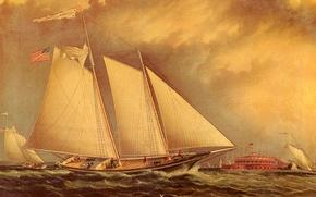 Картинка море, небо, облака, ветер, корабль, парусник, картина, сша, фотр