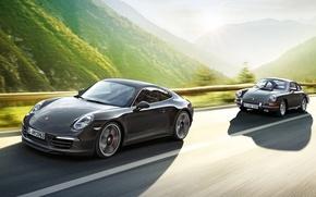 Картинка фон, 911, Porsche, Порше, передок, старый и новый