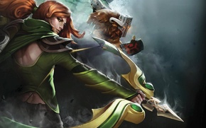 Картинка зелень, грудь, трава, девушка, ночь, темнота, стиль, оружие, меч, маска, лук, лучница, прическа, пара, рыжая, …