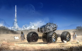 Картинка небо, фантастика, пустыня, CG wallpapers, агрегат, Matt Tkocz