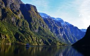 Картинка пейзаж, горы, природа, Норвегия, Aurlands, Fjord