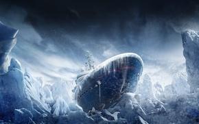 Картинка снег, корабль, сосульки, льды, метель, Tom Clancys, Operation Black Ice, Rainbow Six Siege