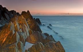 Картинка море, небо, скалы, закат