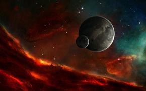 Картинка небо, звезды, туманность, цвет, планета