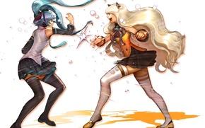 Картинка девушки, борьба, чулки, арт, Hatsune Miku, бантик, Vocaloid, Вокалоид, школьная форма, ушки, SeeU