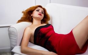 Картинка Девушка, красное платье, белая комната