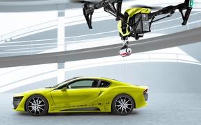 Картинка car, yellow, Concept Car, Drone, Etos, CES 2016, Etos Concept Car, DJI Inspire One, Electric …