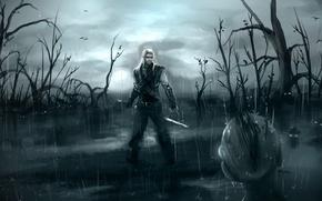 Картинка болото, Ведьмак, The Witcher, геральт, фан-арт, CD Projekt RED, сапковский, утопцы