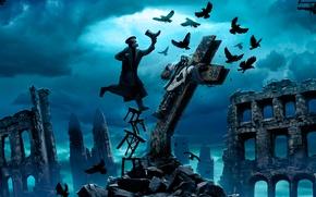 Картинка небо, облака, птицы, тучи, человек, крест, вороны, руины, распятие, табуретка, Romantically Apocalyptic, alexiuss, zee captain
