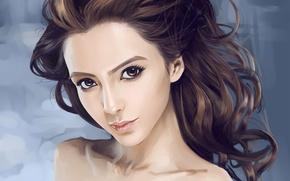 Картинка взгляд, девушка, лицо, волосы, портрет, арт, кудряшки, азиатка, Dtoxin