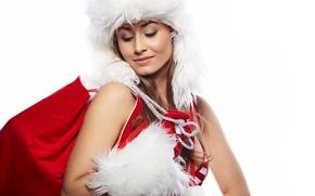 Картинка белый, глаза, девушка, красный, праздник, новый год, макияж, мех, new year, мешок, merry christmas, подводка, …