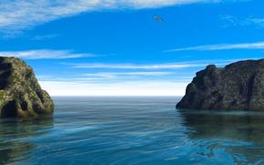 Картинка море, небо, облака, пейзаж, скалы, птица
