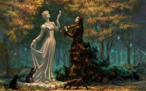 Картинка девушка, парк, скрипка, кшки, Nocturne