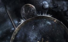 Картинка фон, меч, воин, шлем, щит