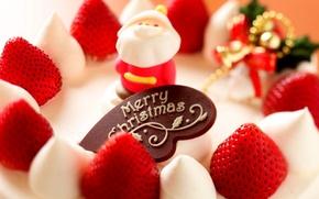 Картинка еда, клубника, Рождество, торт, Санта, пирожное, фрукты, holidays, cake, крем, десерт, food, праздники, fruit, Merry …