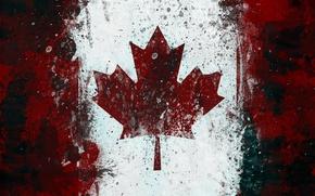 Обои флаг, канада, кленовый лист