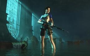 Картинка девушка, Tomb Raider, гарпун, Lara Croft