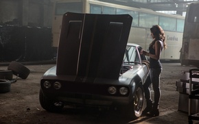 Обои машина, фон, фильм, актриса, Мишель Родригес, автобусы, Interceptor, Michelle Rodriguez, Дженсен, Letty, Форсаж 6, Fast ...