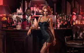 Картинка девушка, секси, фон, модель, бар, мужчина, бутылки, sexy, красотка, Veronika Klimovits, Miss Tuning 2015, Мисс …