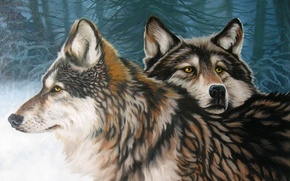 Картинка зима, лес, верность, пара, волки, АРТ