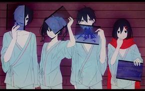 Картинка улыбка, девушки, аниме, арт, парни, konoha, kagerou project, tateyama ayano, ene, kisaragi shintaro, kokonose haruka, …