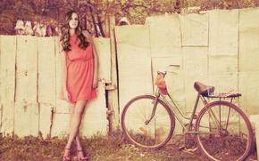 Картинка девушка, деревья, велосипед, фон, widescreen, обои, настроения, листва, забор, платье, колеса, wallpaper, широкоформатные, background, полноэкранные, ...