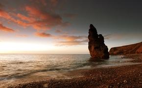 Картинка море, небо, облака, закат, скала