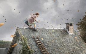 Обои инструмент, ветер, бабка, крыша, листья