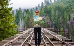 Картинка мост, картина, парень, иллюзия, Isaac Gautschi, Look Closely