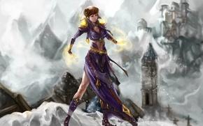 Картинка холод, зима, взгляд, девушка, снег, лицо, магия, волосы, руки, платье, арт, jakuroi