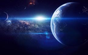 Картинка космос, звезды, земля, планета, earth, space, universe, nebula, art