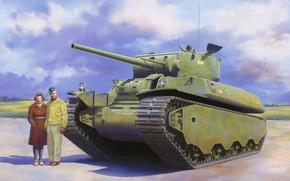 Картинка war, art, painting, tank, M6 heavy tank