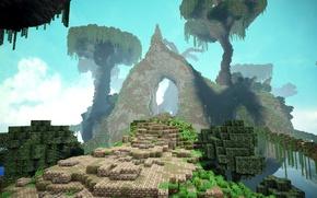 Картинка дорога, небо, деревья, туман, блоки, врата, Minecraft, green hole